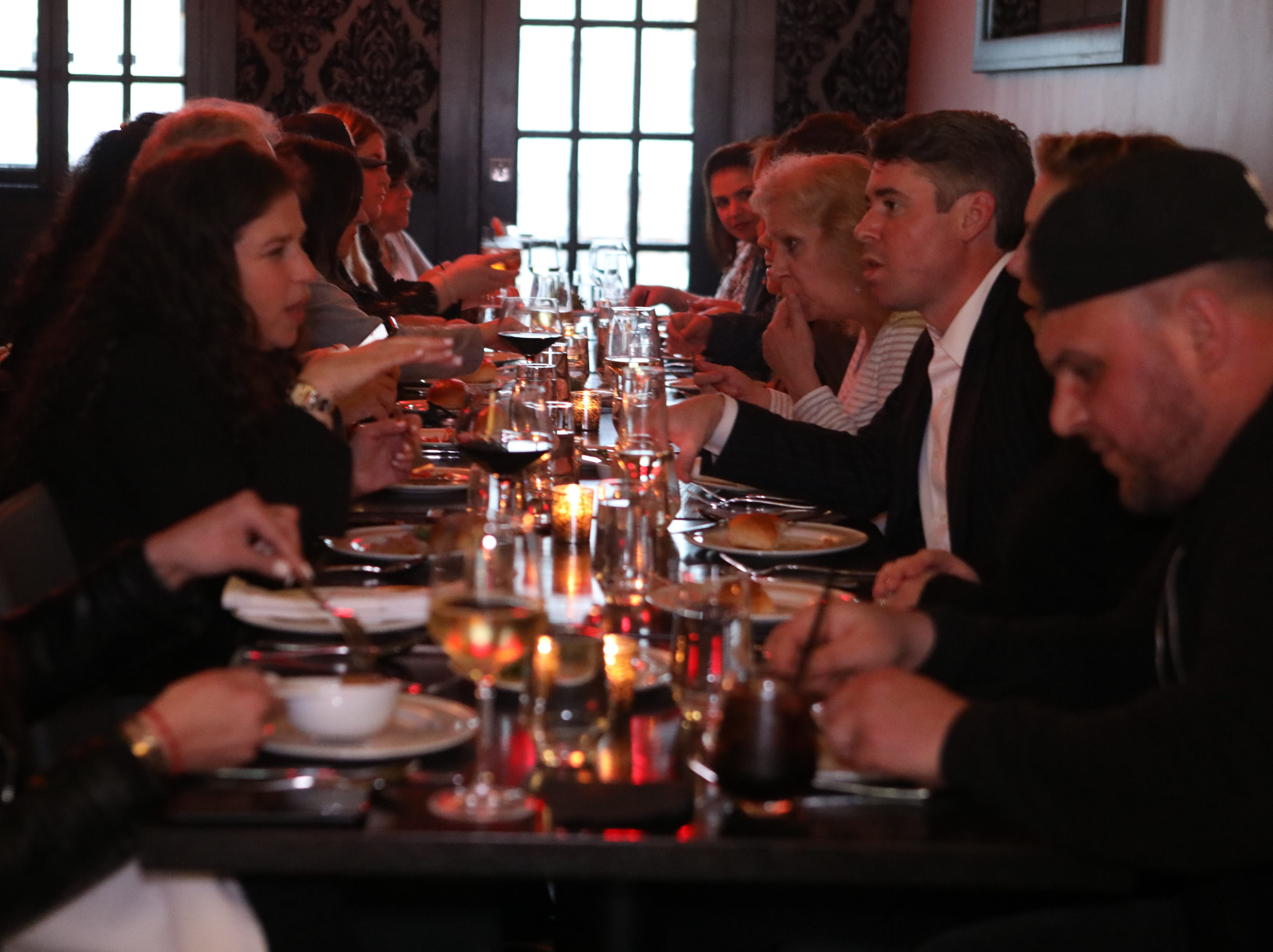 """Local residents have dinner with Jeanne, Lohud Food reporter as apart of her """"Dinner with Jeanne"""" at Tredici Social in Bronxville April 9, 2019."""