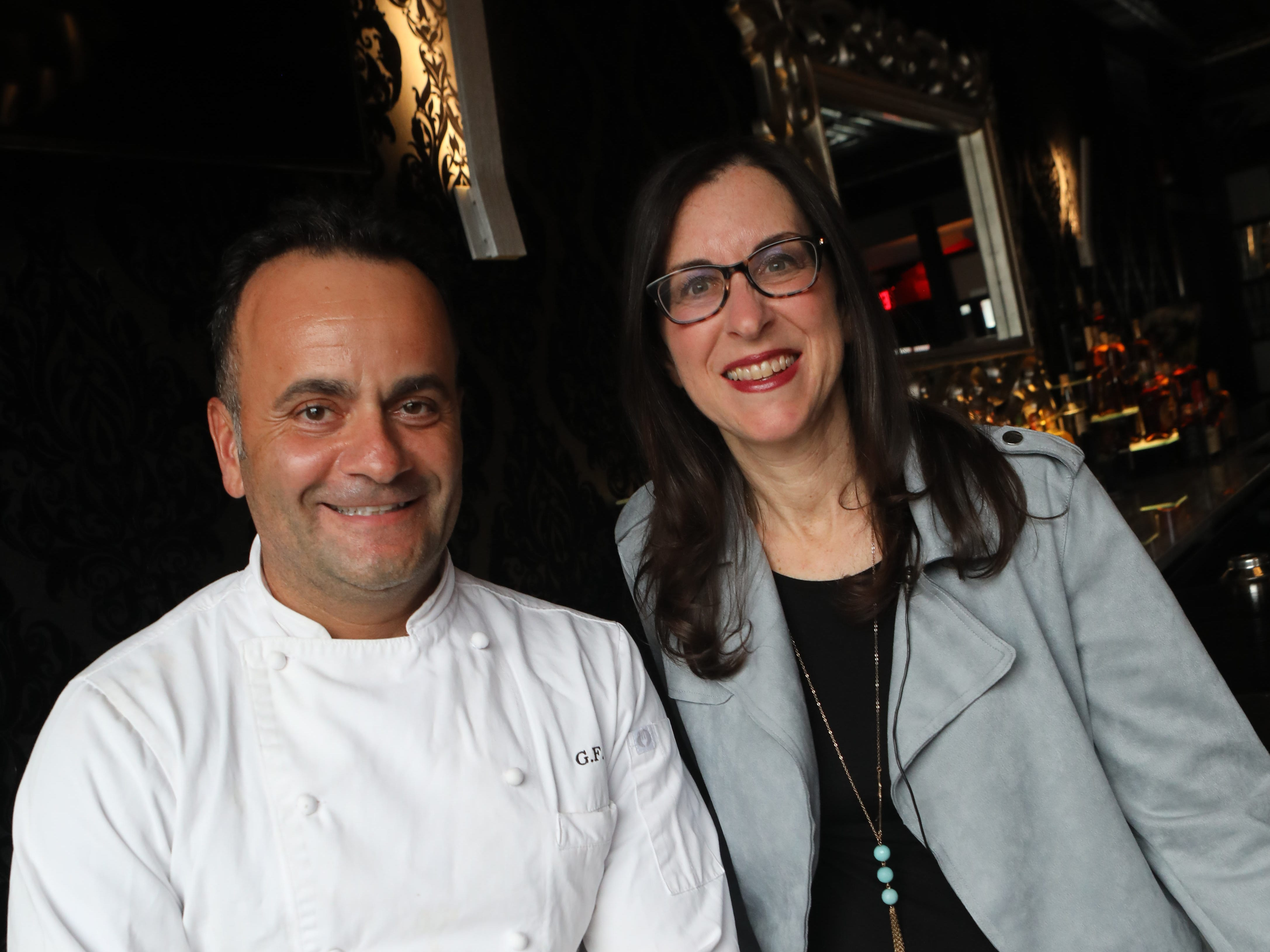 """From left, Jeanne Muchnick is photographed with Chef Giuseppe Fanelli before her """"Dinner with Jeanne"""" at Tredici Social in Bronxville April 9, 2019."""
