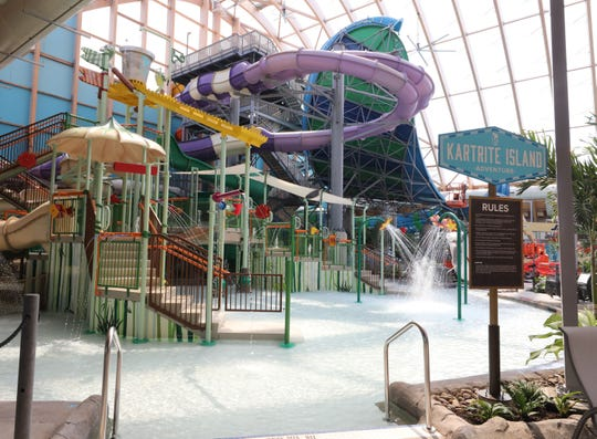 A view of Kartrite Island, with slides and a dump bucket at The Kartrite Resort & Indoor Waterpark in Monticello, April 10, 2019.
