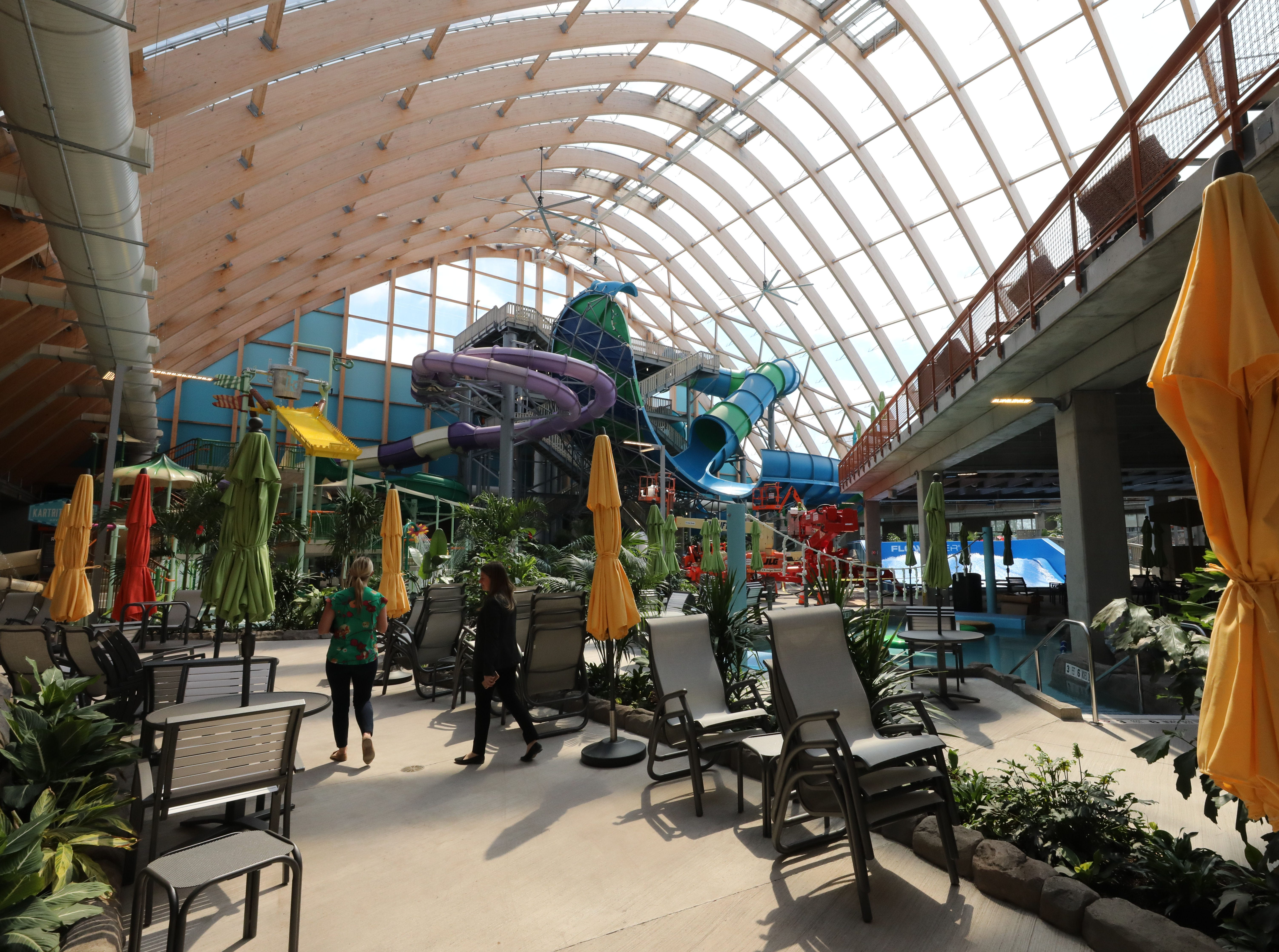 The interior of the waterpark, where the 60,000 square foot transparent roofing system, keeps the interior at a toasty 84 degrees for year round warmth, at The Kartrite Resort & Indoor Waterpark in Monticello, April 10, 2019.