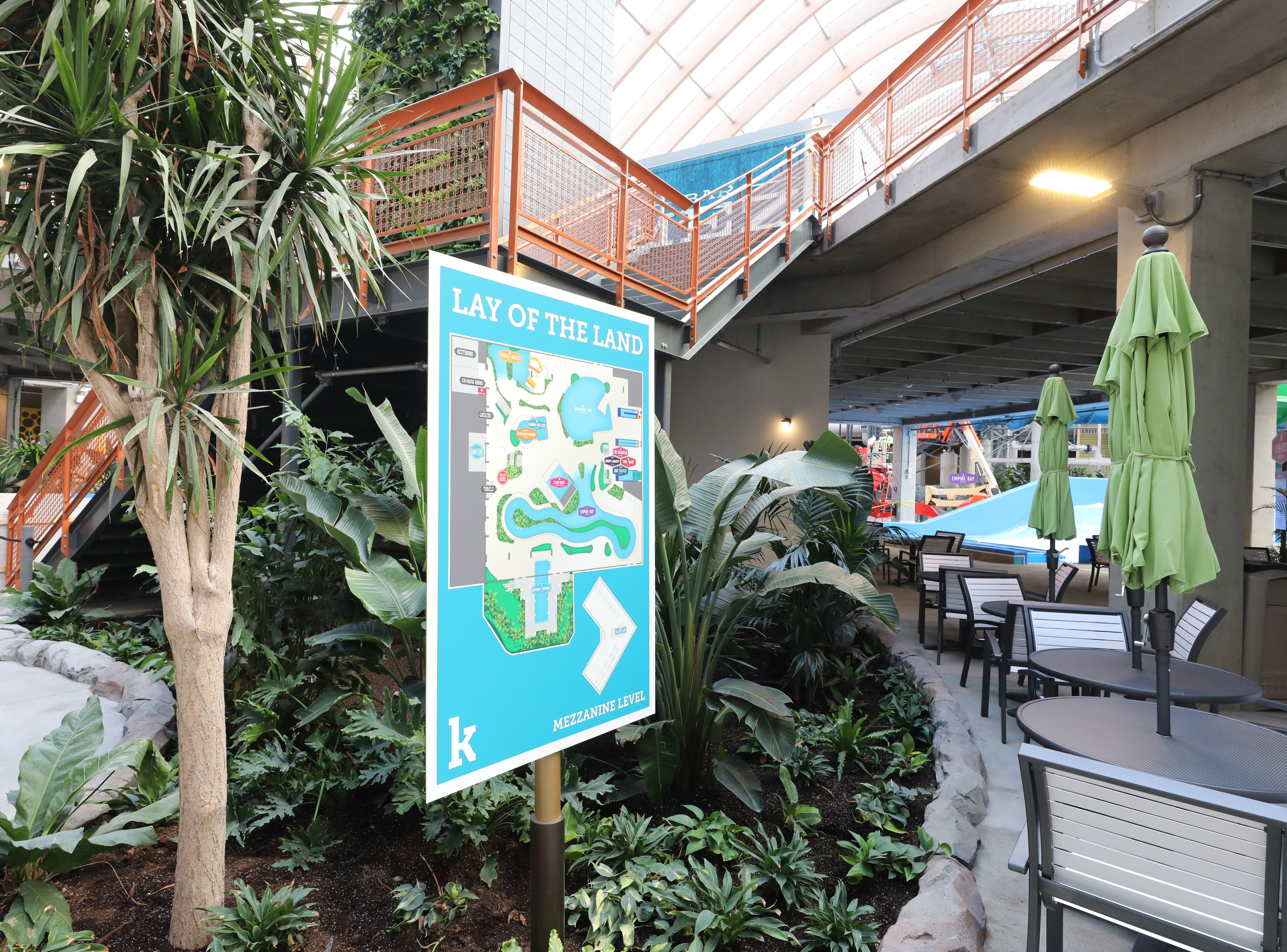An orientation map is pictured in the waterpark, at The Kartrite Resort & Indoor Waterpark in Monticello, April 10, 2019.