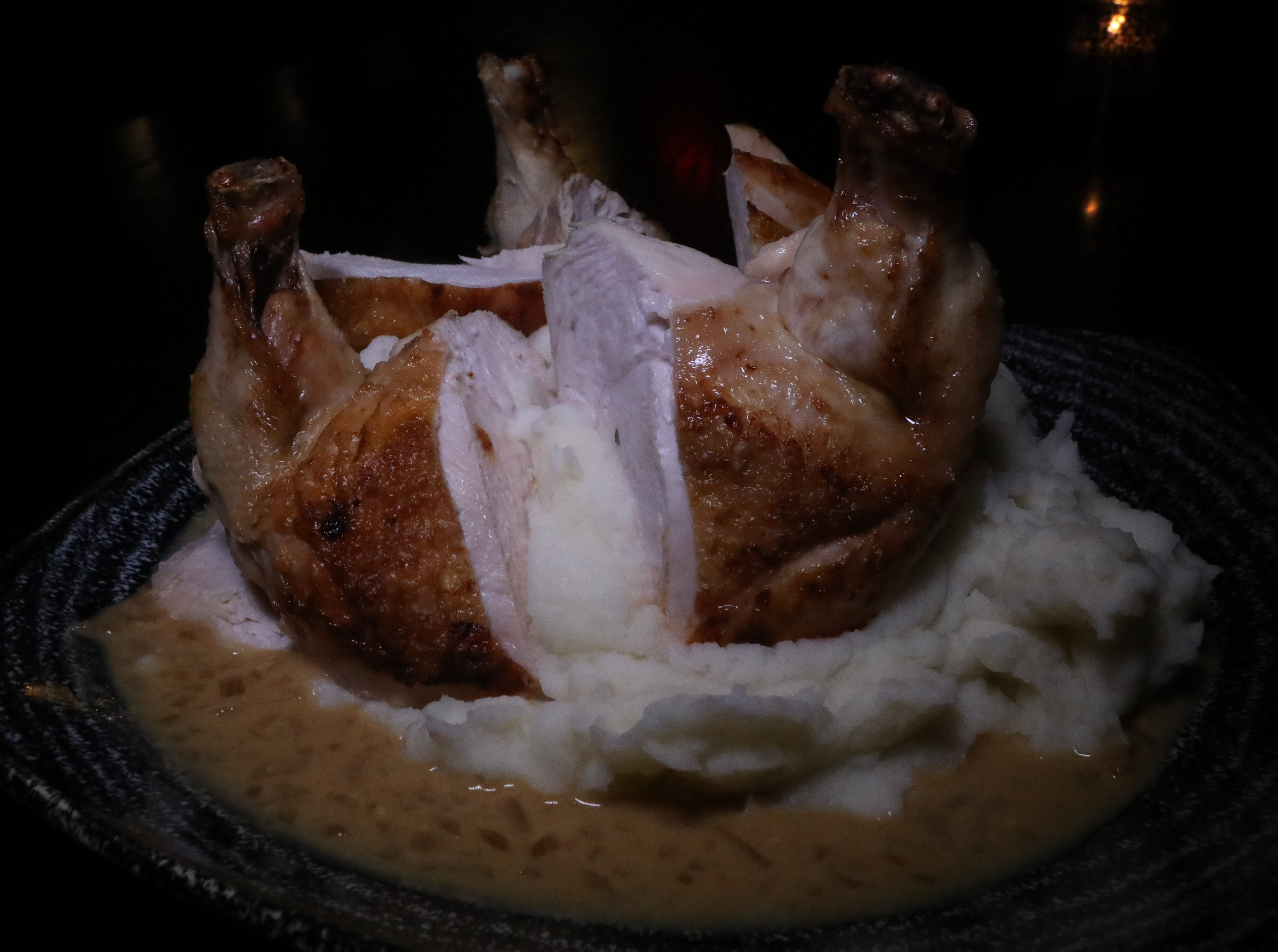 """Organic chicken with shallots and Prosecco over potatoes was prepared by chef Giuseppe Fanelli for """"Dinner with Jeanne"""" at Tredici Social in Bronxville April 9, 2019."""