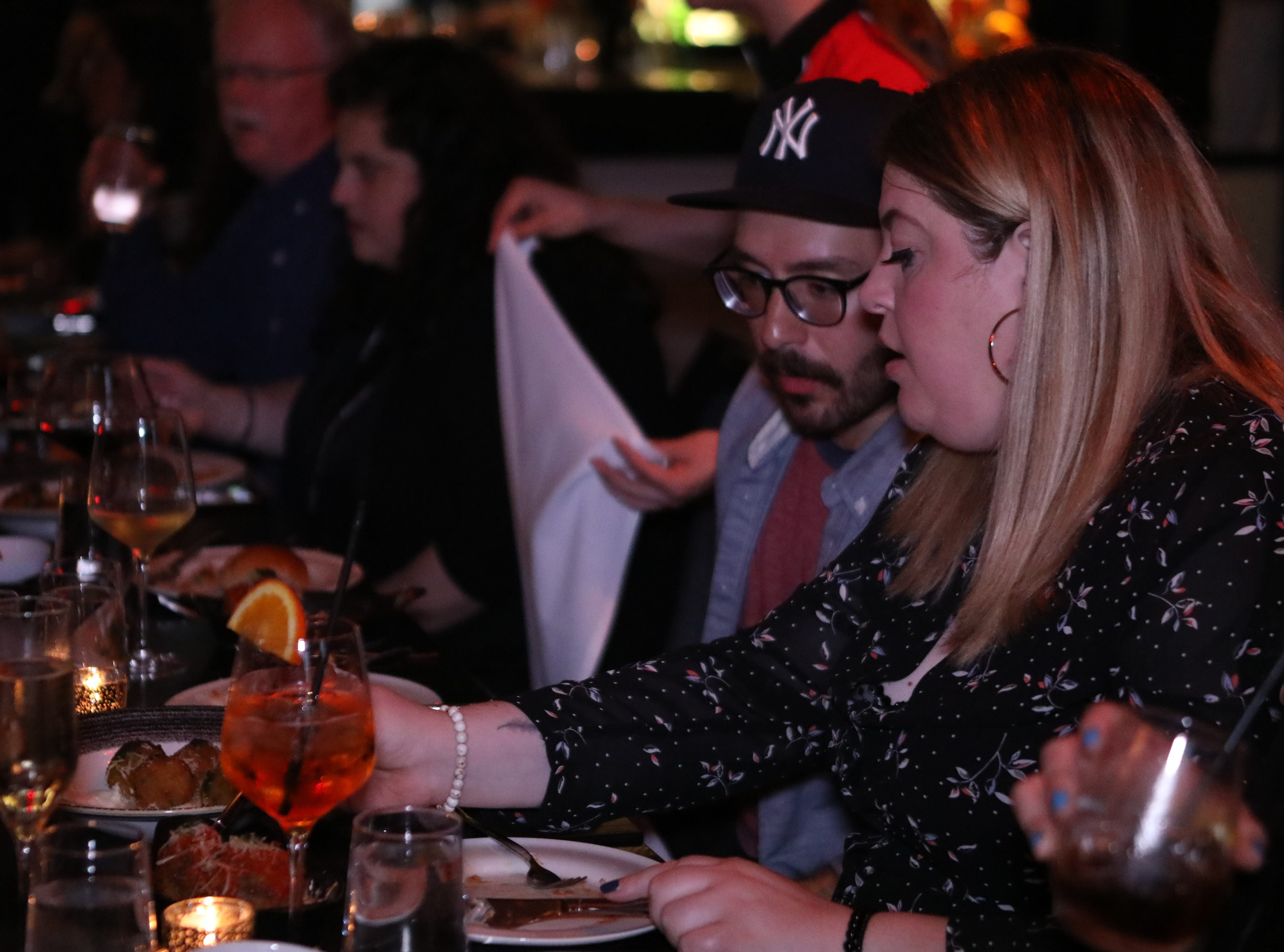 """From left, Albert Gjolaj and Antonella Pomilla enjoy a meal prepared by Chef Giuseppe Fanelli for """"Dinner with Jeanne"""" at Tredici Social in Bronxville April 9, 2019."""