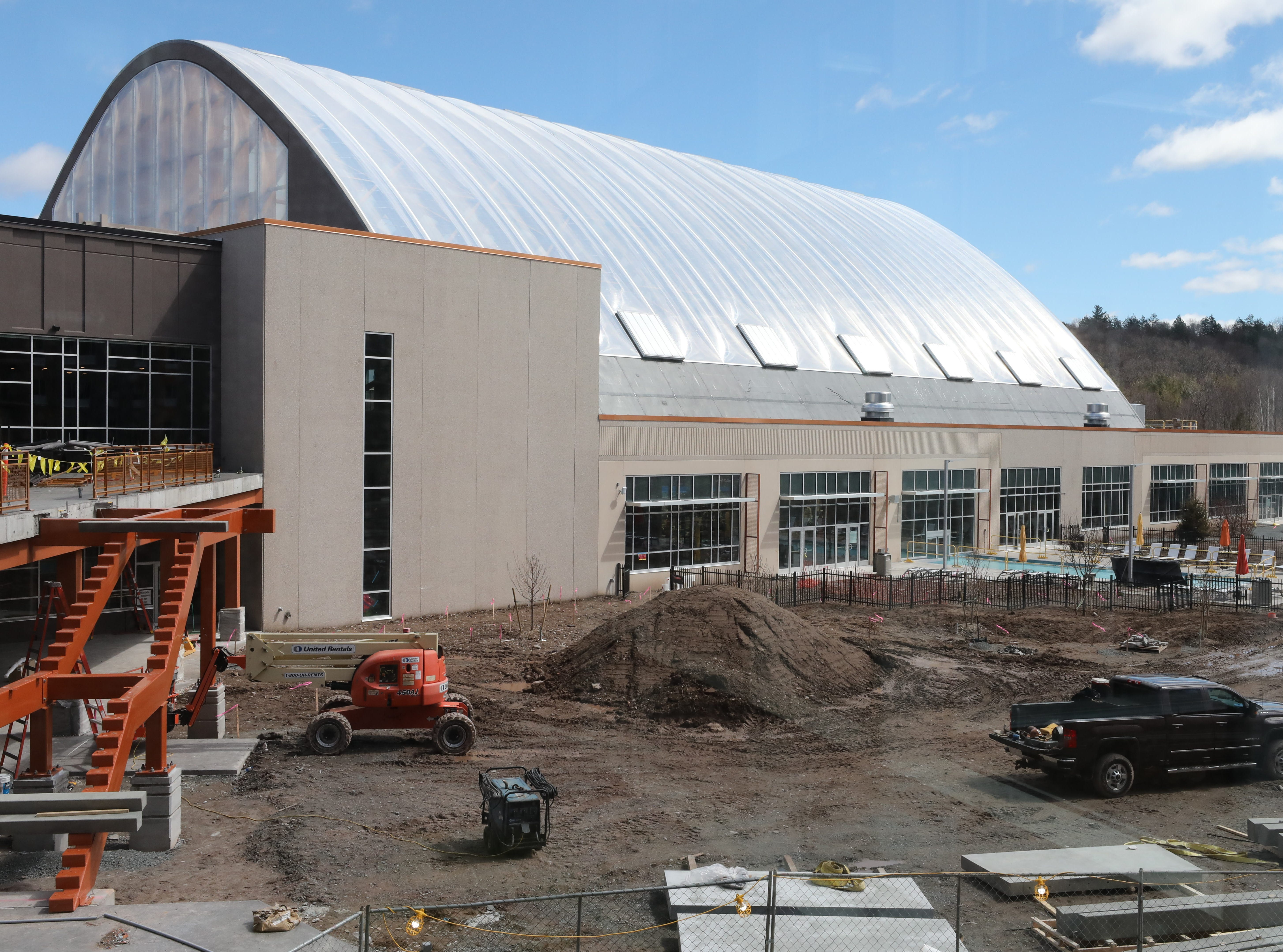 The domed area that houses the indoor waterpark, as work continues on the exterior of The Kartrite Resort & Indoor Waterpark in Monticello, April 10, 2019.