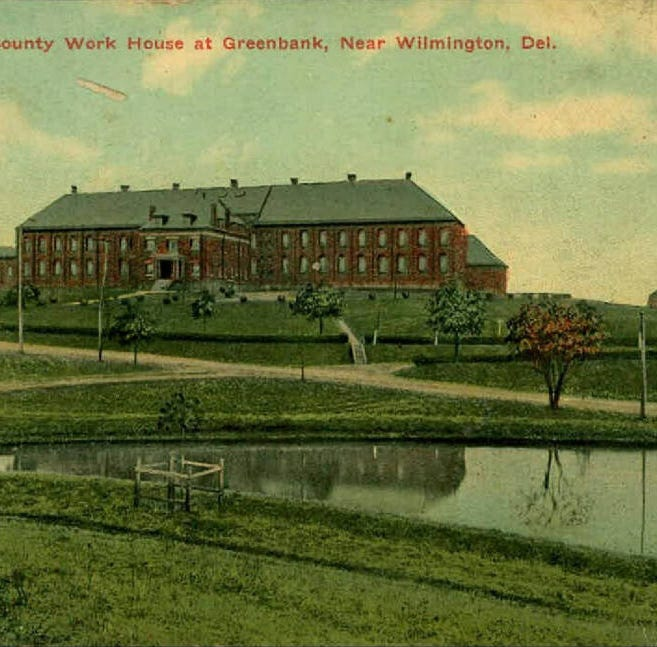 The former New Castle County Workhouse off Kirkwood Highway and Greenbank Road near Prices Corner was a prison from 1901 to 1971. The tower, seen in this postcard, remains standing today.