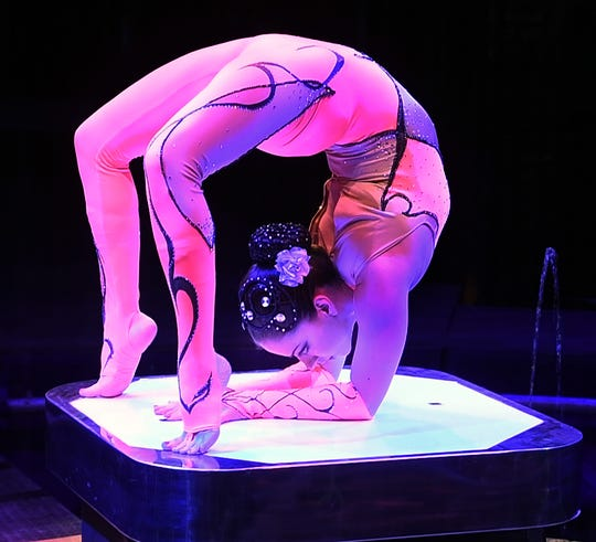 Cirque Italia performer Sandy Giannuzzi moves gracefully through her contortionist positions on the center stage of the water circus at the Bridwell Ag Center Thursday.