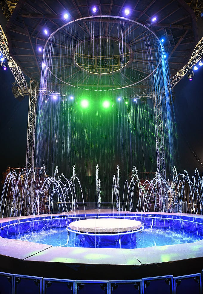 Under the big top of the Cirque Italia water circus featuring computer controlled fountains, lights, music and an international cast of circus performers.