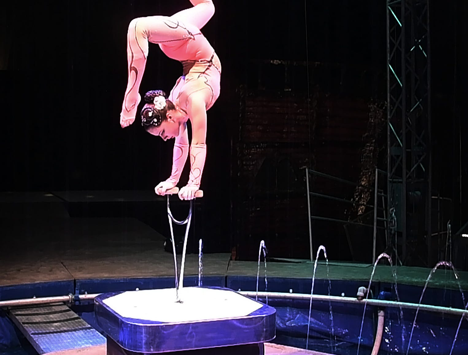 Expert contortionist Sandy Giannuzzi practices her act for the Cirque Italia water circus.
