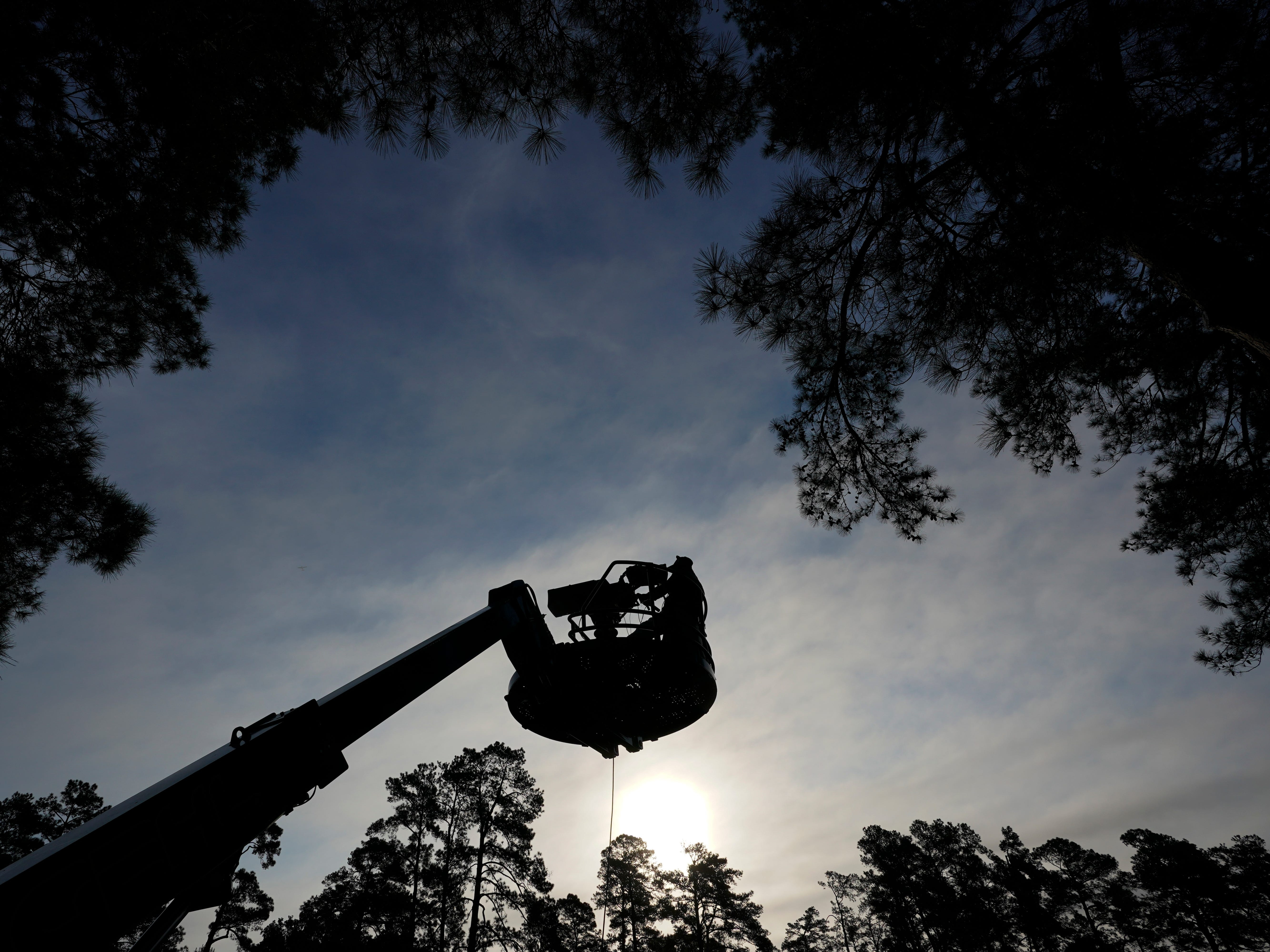 A television camera is seen on the second hole during the first round for the Masters.
