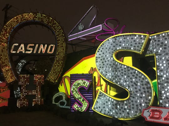 "The new ""Brilliant!"" light and music show at the Neon Museum brings old signs to life. Can you spot the Denny's sign?"