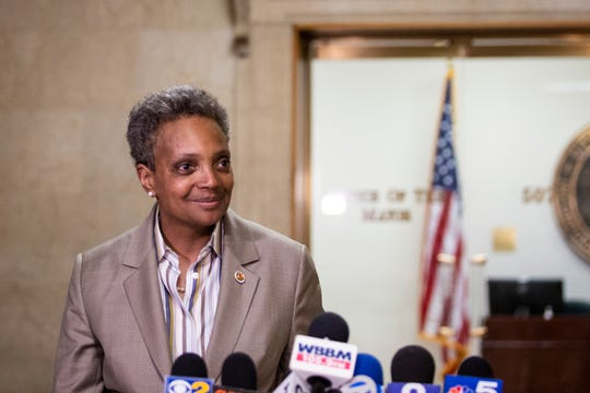 Chicago Mayor-elect Lori Lightfoot speaks to reporters after meeting with Mayor Rahm Emanuel at City Hall, Wednesday, April 3, 2019, the day after she defeated Toni Preckwinkle in a runoff election.