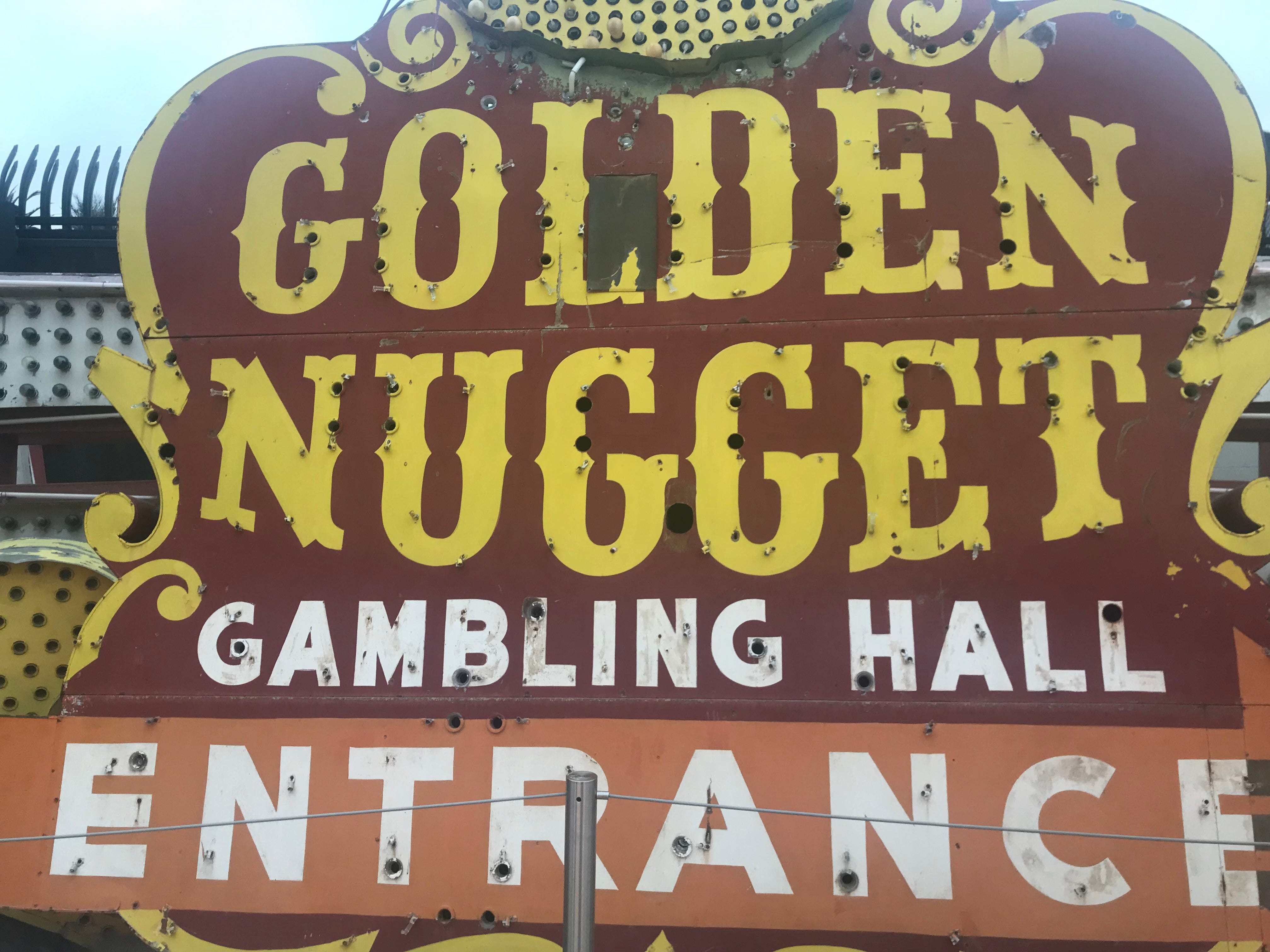 The Golden Nugget, which opened in 1946, is still a centerpiece of Fremont Street, but with a more modern sign.