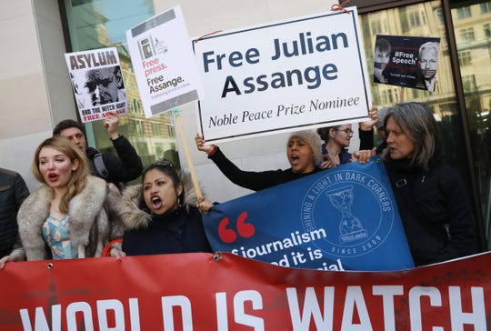 Assange supporters gave outside Westminster Magistrates Court on April 11, 2019 in London, England, after his arrest.