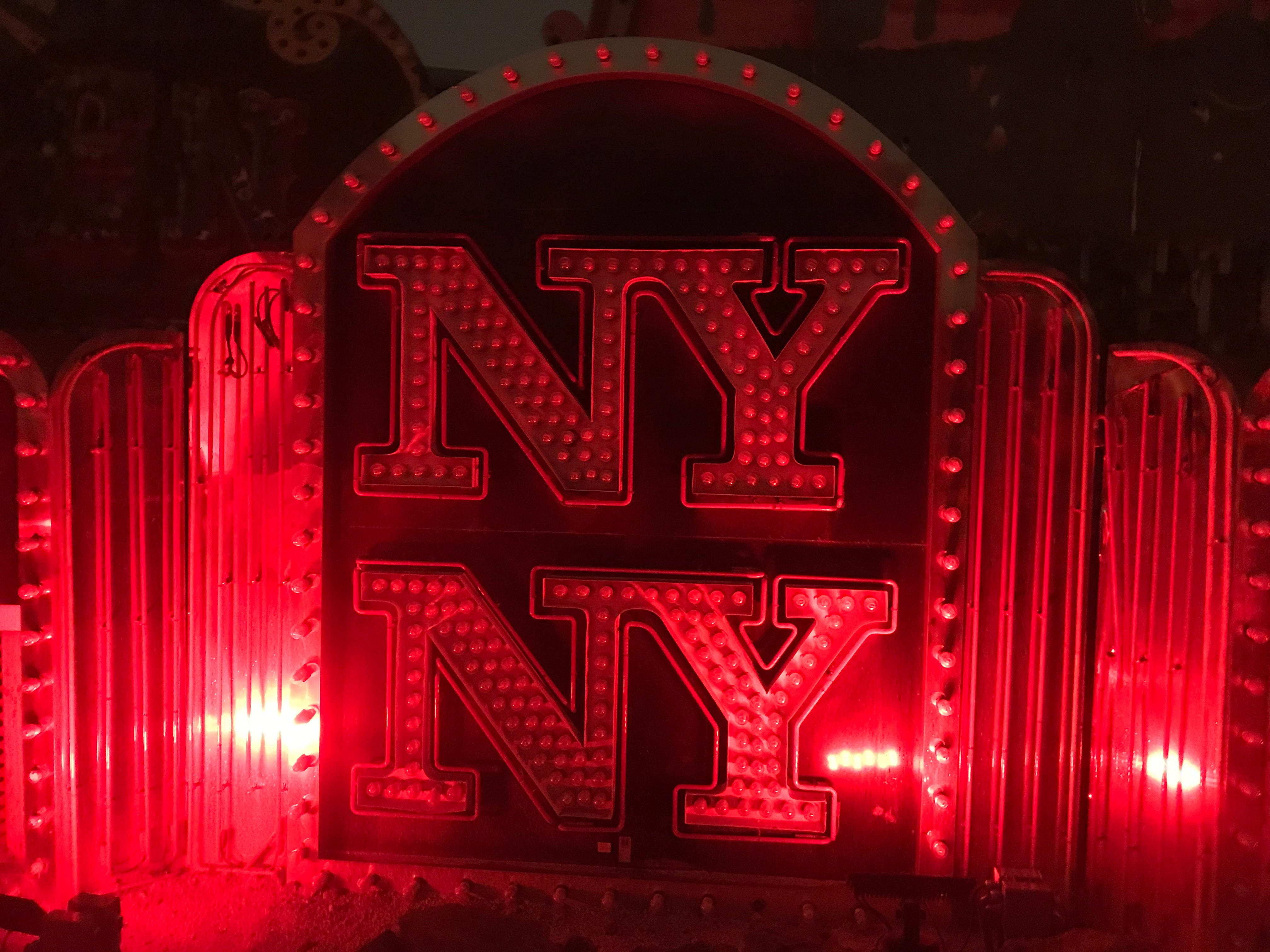An old sign from New York-New York,  a landmark hotel at the south end of the Las Vegas Strip.
