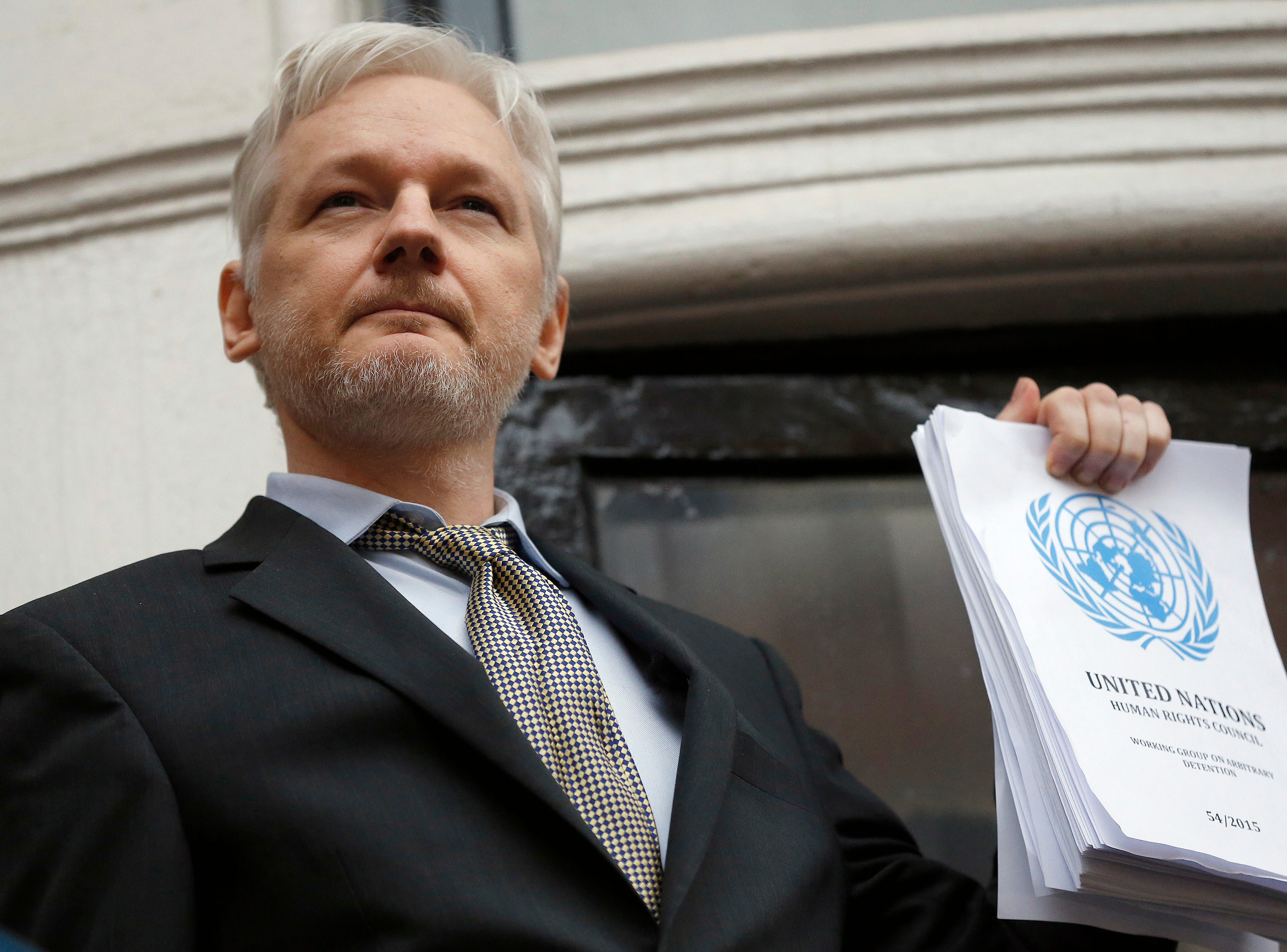 Julian Assange, seen here in 2016, often used the balcony at the embassy to address the media.