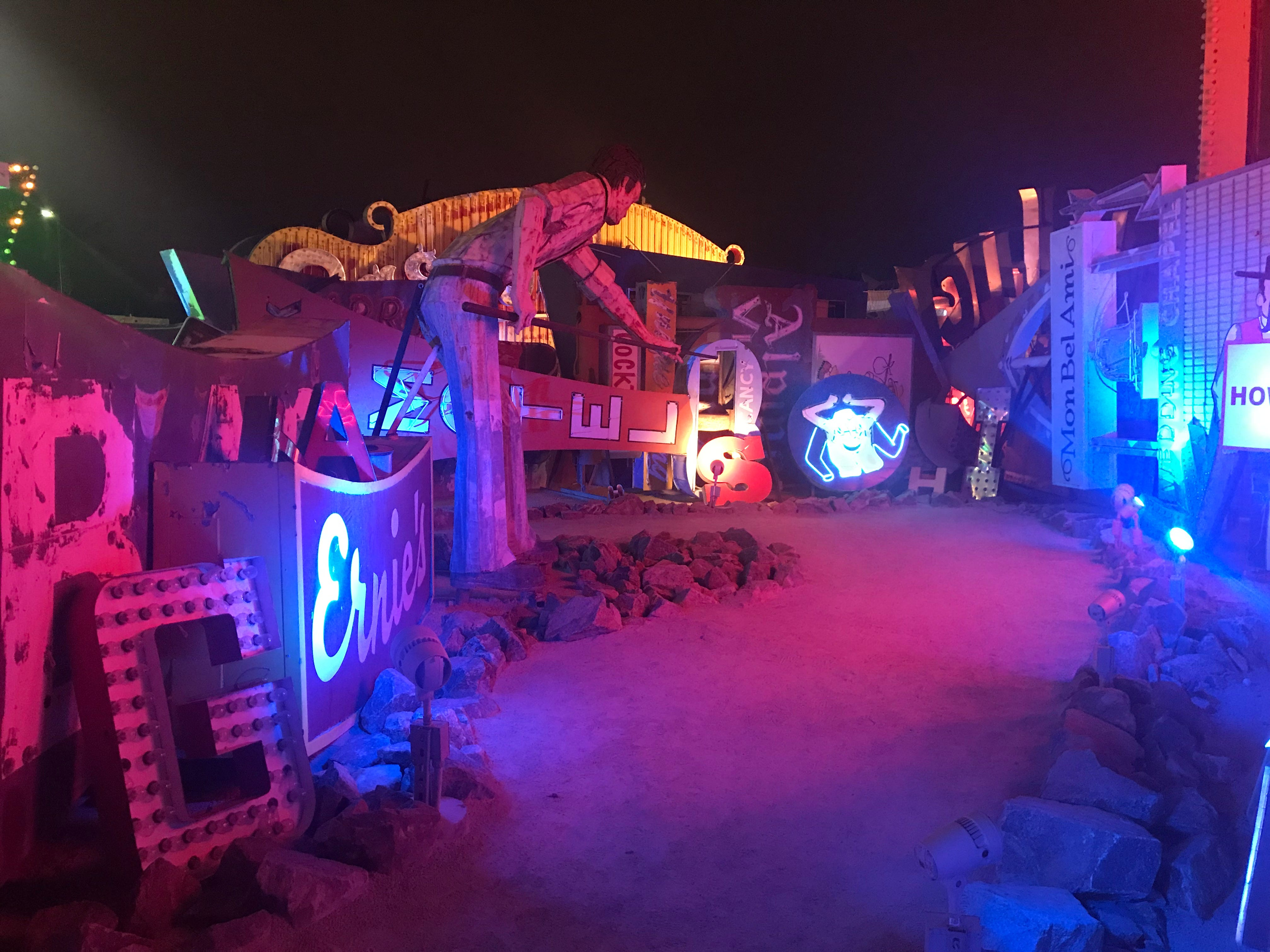 The Neon Museum at night. Tours are offered.