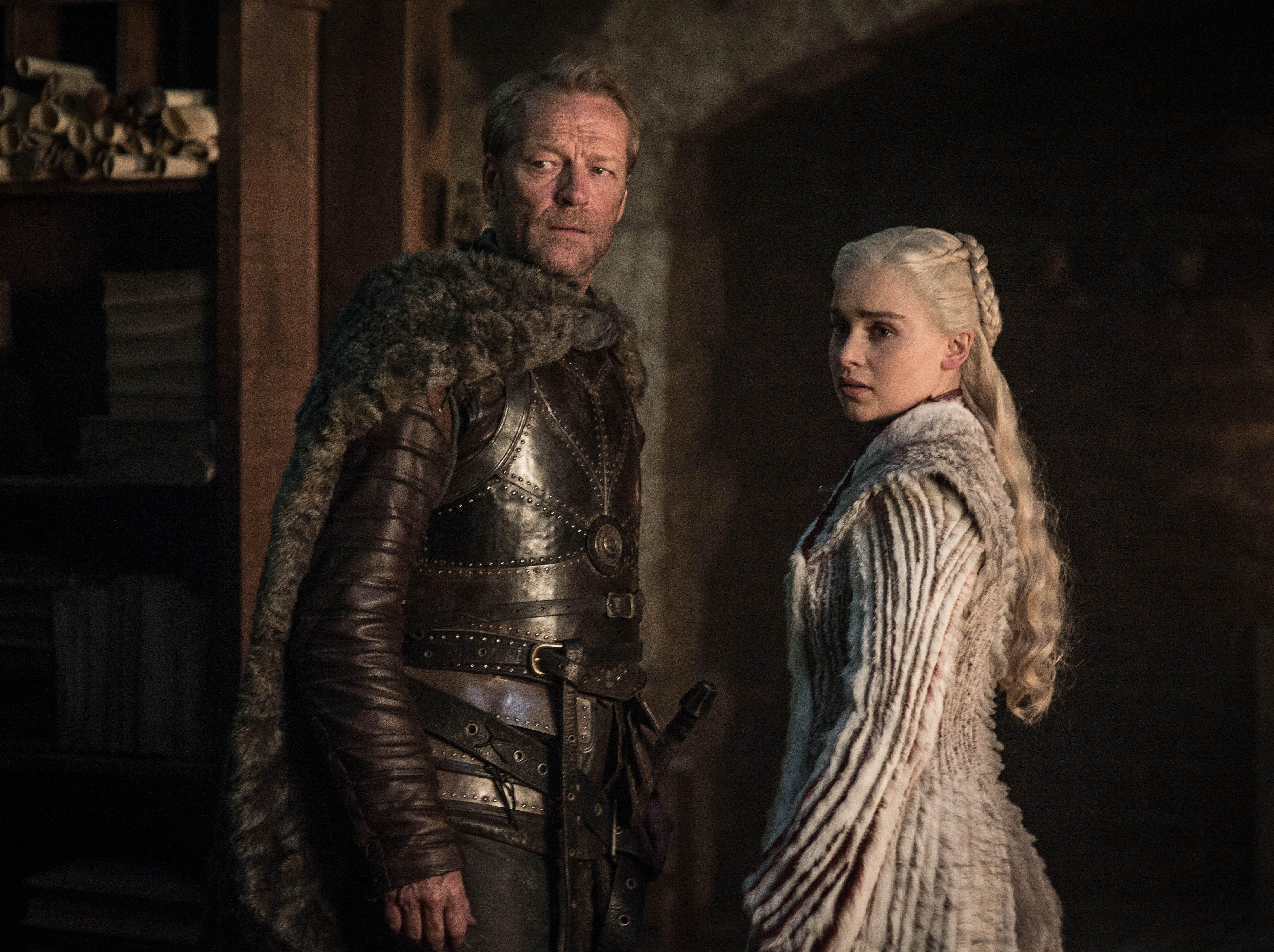"Iain Glen as Jorah and Emilia Clarke as Daenerys Targaryen on ""Game of Thrones."""