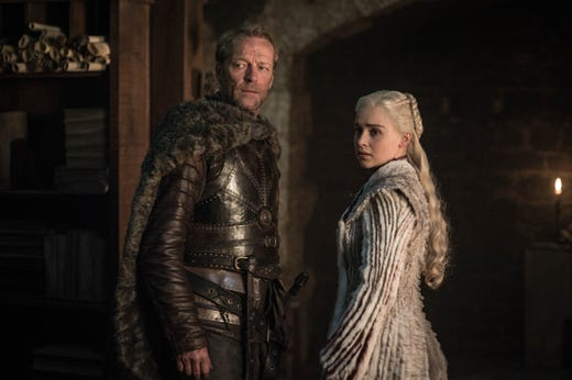 Iain Glen as Jorah and Emilia Clarke as Daenerys Targaryen on
