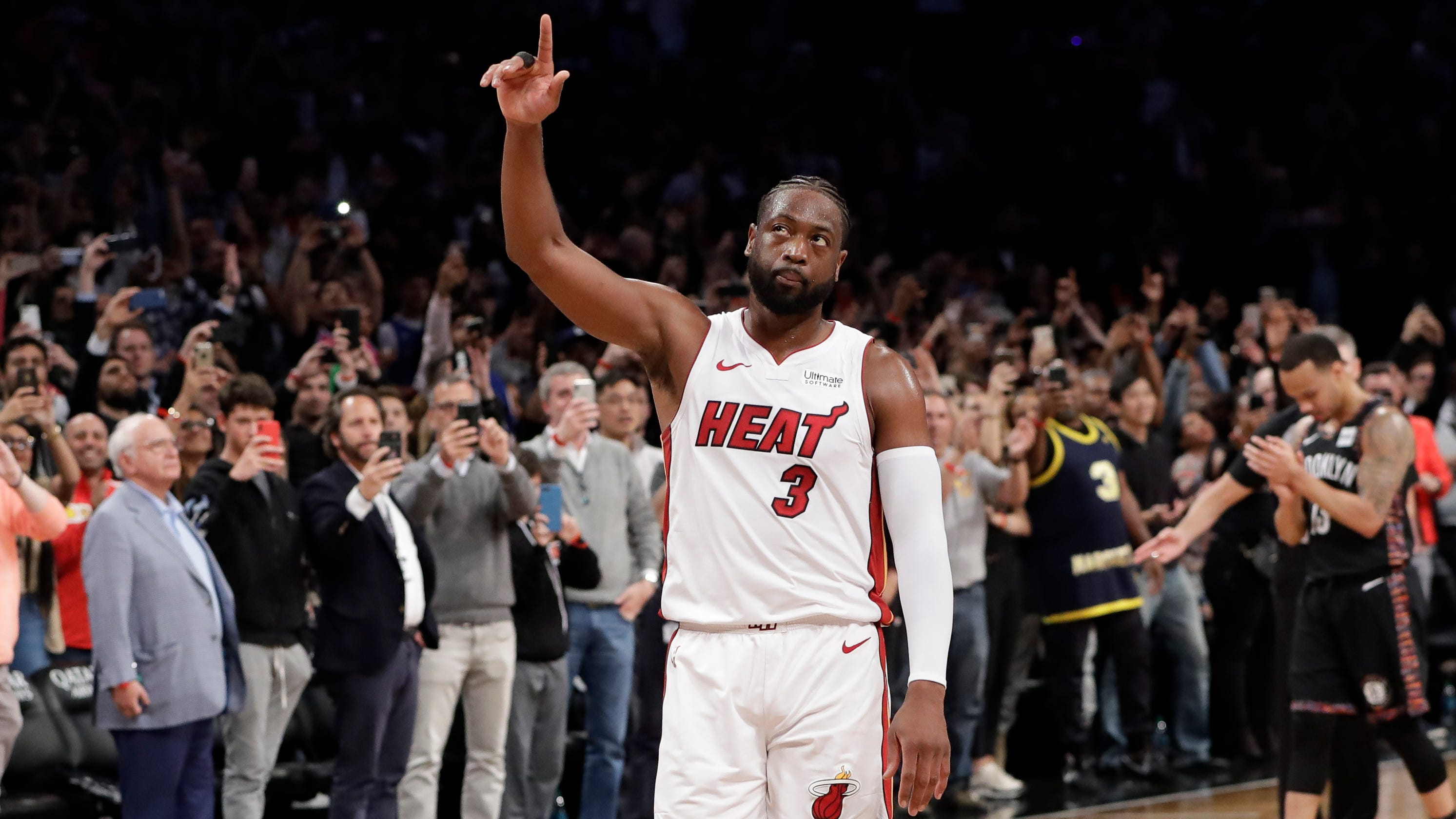 new arrival 09f2e 9cbe2 Dwyane Wade goes out with triple-double in final career game