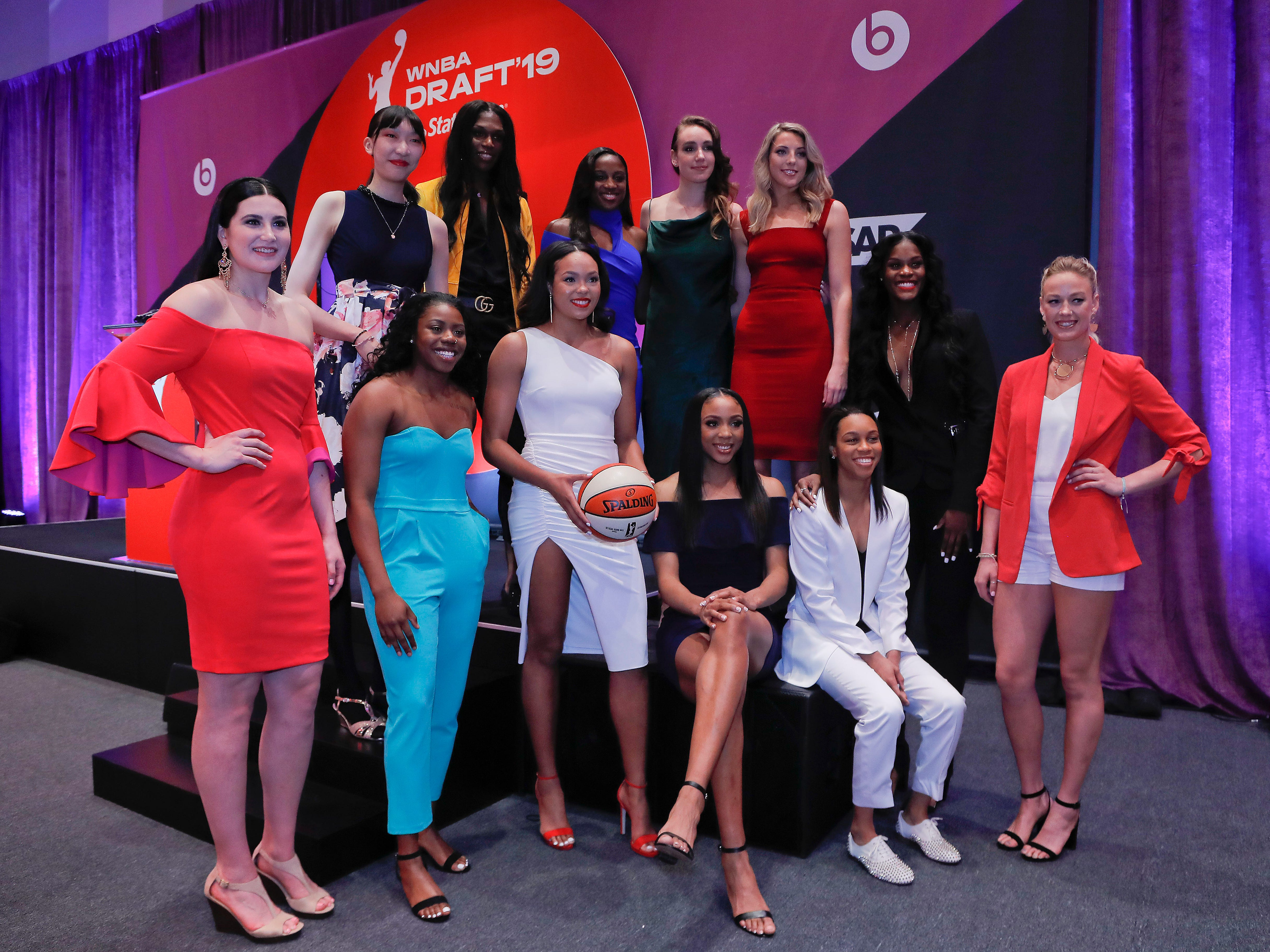 Draft prospects pose for a photo before the start of the WNBA draft in New York.