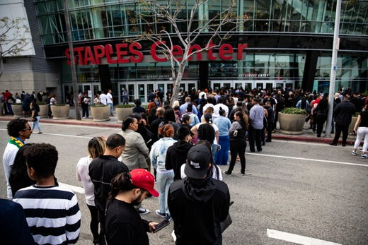 Thousands of people arrive to attend the ceremony 'Nipsey Hussle Celebration of Life' to honor the memory of the late rapper at the Staples Center Stadium in Los Angeles, April 11, 2019.