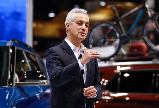 Chicago Mayor Rahm Emanuel speaks at the Chicago Auto Show at McCormick Place in Chicago.