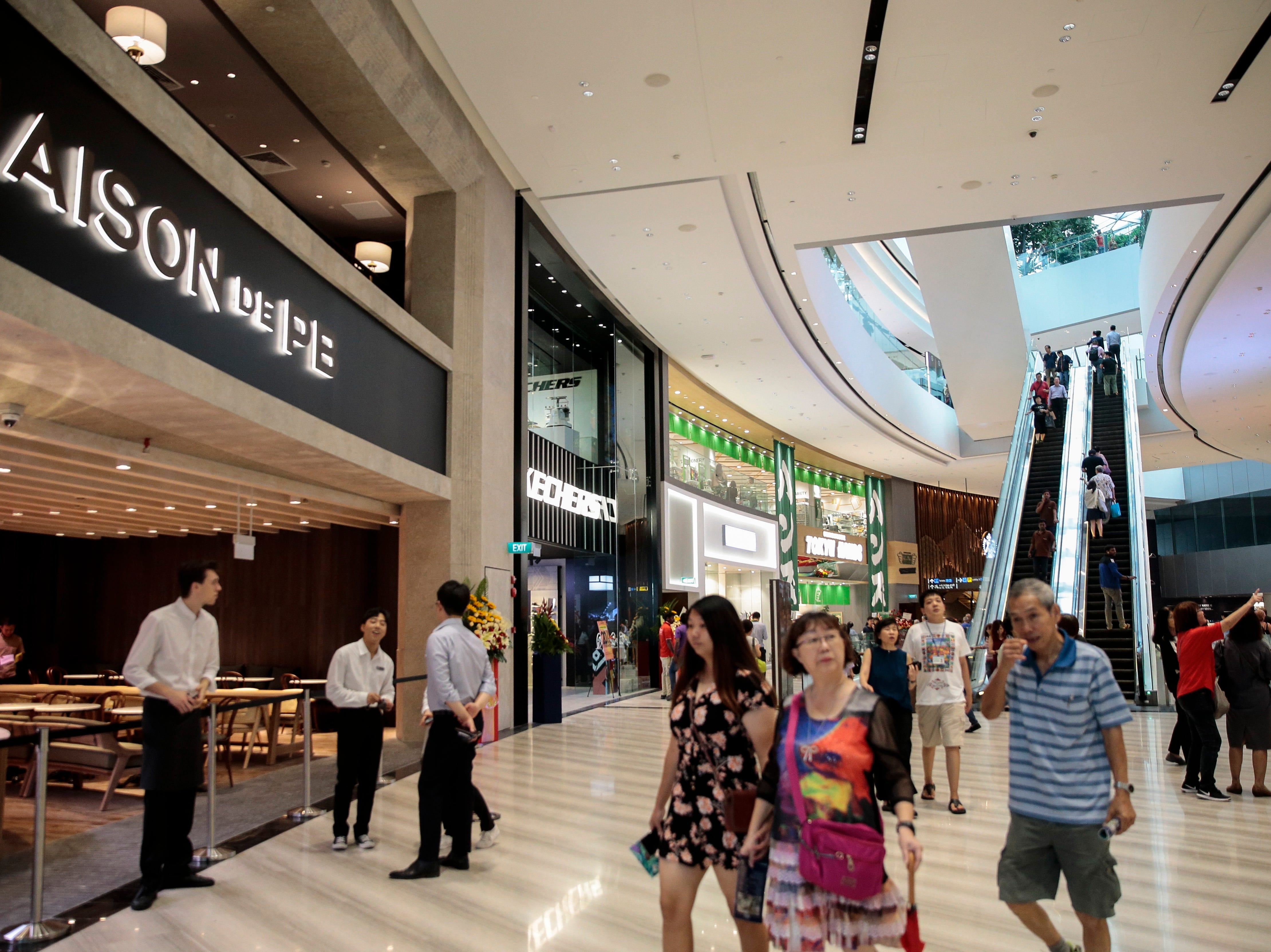 Retail and food outlets inside Jewel Changi in Singapore on April 11, 2019. The ten-story structure covers a 3.85 hectare area and includes a hotel, retail and dining outlets, early check-in counters and baggage areas.