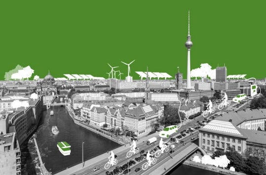A vision of what the German city of Berlin might look like as carbon neutral.