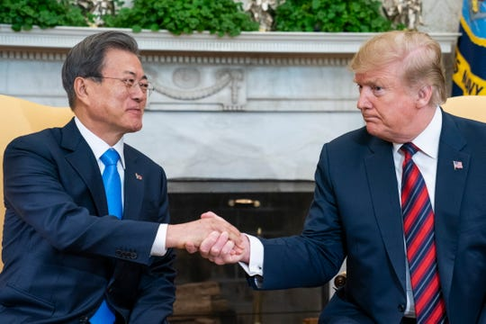 President Donald J. Trump (R) welcomes South Korean President Moon Jae-in (L) to the Oval Office of the White House in Washington, DC, USA, 11 April 2019. President Moon is expected to ask President Trump to reduce sanctions on North Korea in an attempt to jump start nuclear negotiations between North Korea and the US.