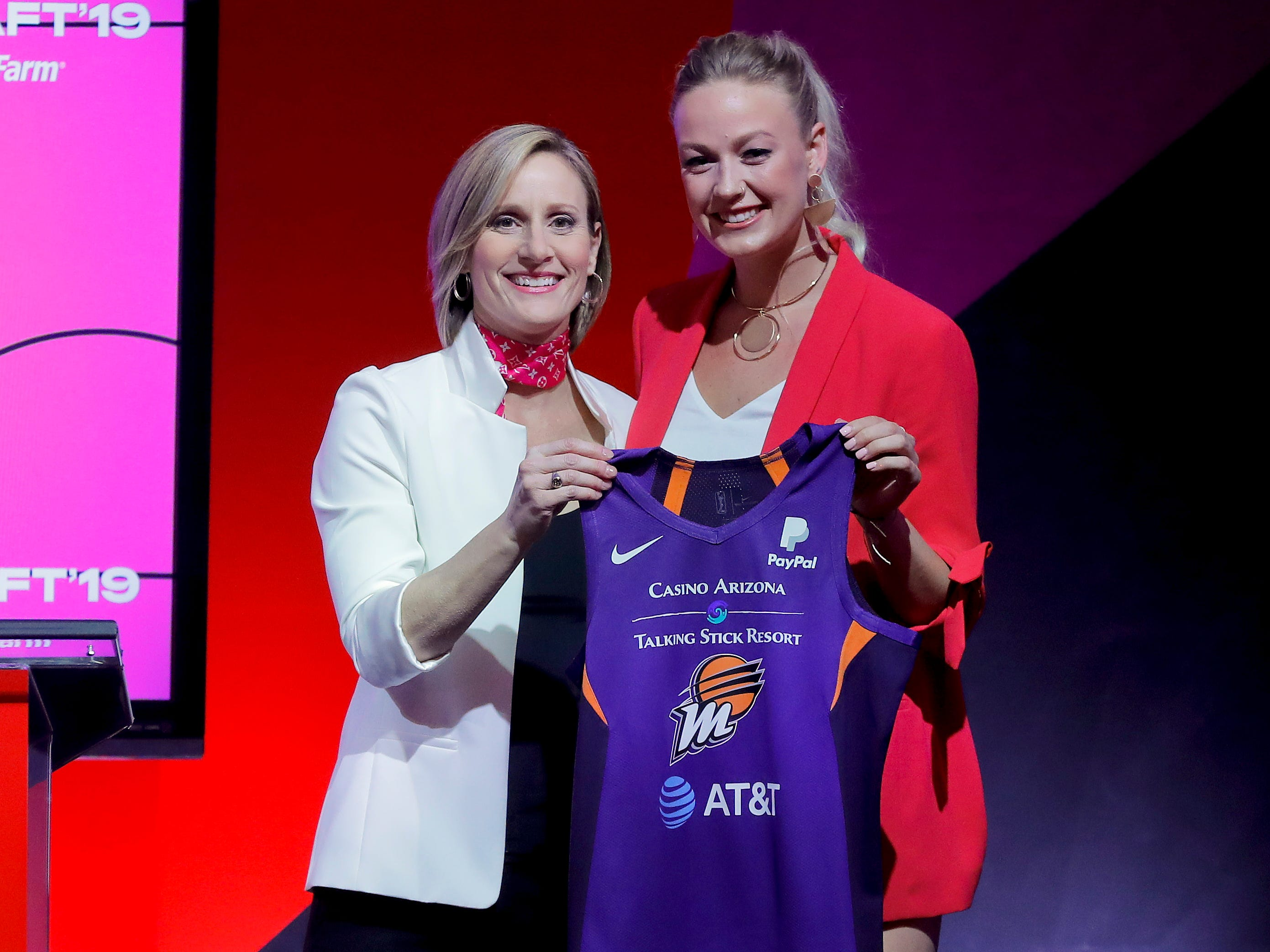 Missouri's Sophie Cunningham (right) poses for a photo with WNBA COO Christy Hedgpeth after being selected by the Phoenix Mercury in the second round of the WNBA draft.