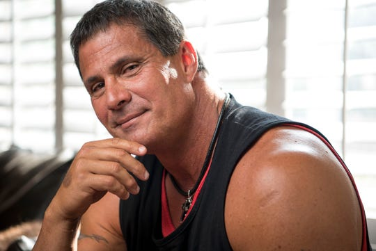 Jose Canseco poses for a photo in his home in Las Vegas on Tuesday, May 9, 2017.
