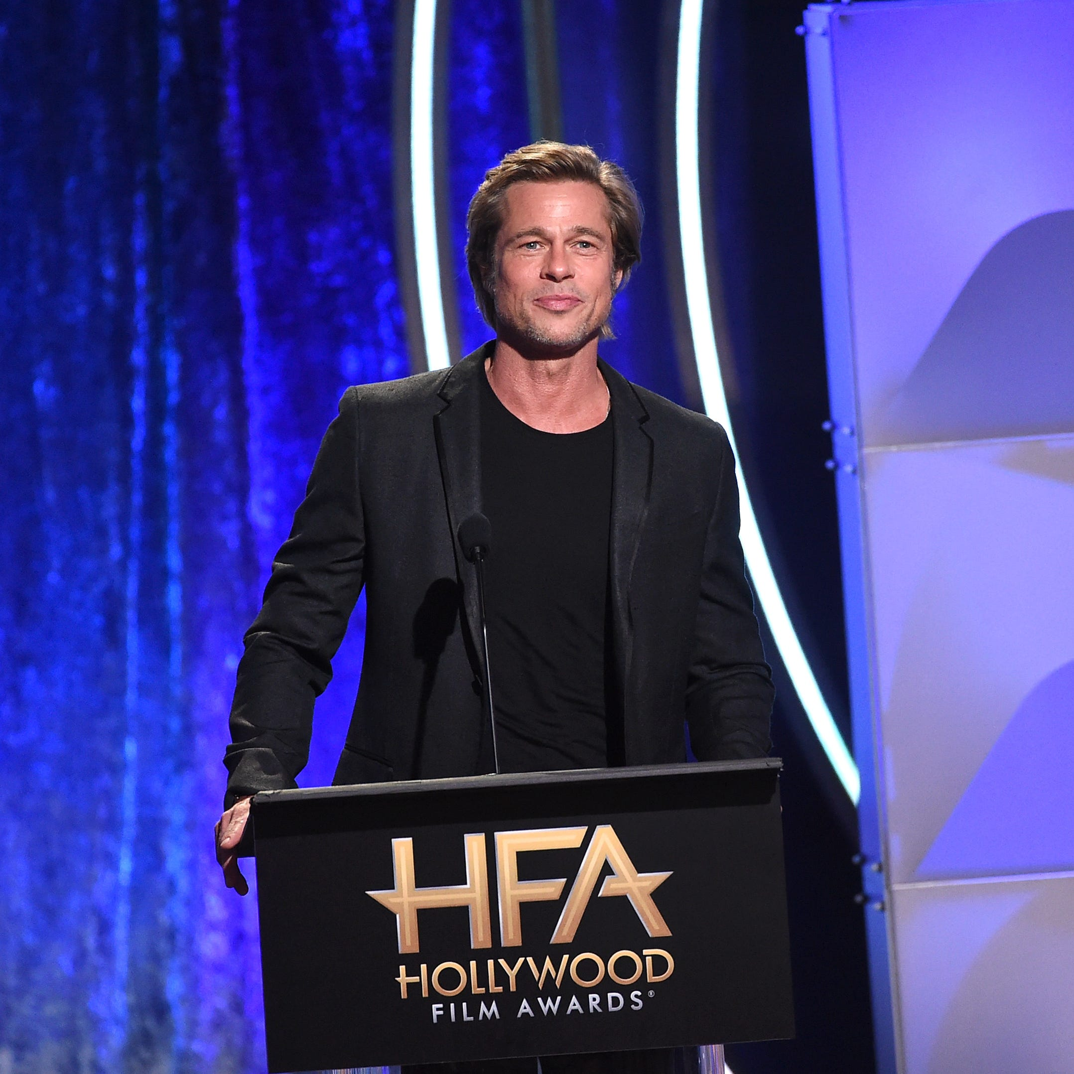 BEVERLY HILLS, CA - NOVEMBER 04:  Brad Pitt speaks onstage during the 22nd Annual Hollywood Film Awards at The Beverly Hilton Hotel on November 4, 2018 in Beverly Hills, California.  (Photo by Kevin Winter/Getty Images for HFA) ORG XMIT: 775237952 ORIG FILE ID: 1057413492