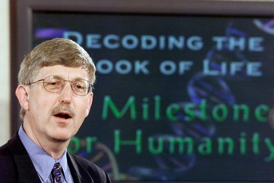 Francis Collins, director of the human genome project of the National Institutes of Health, announces the mapping of the human genome in 2000, in Washington, D.C.