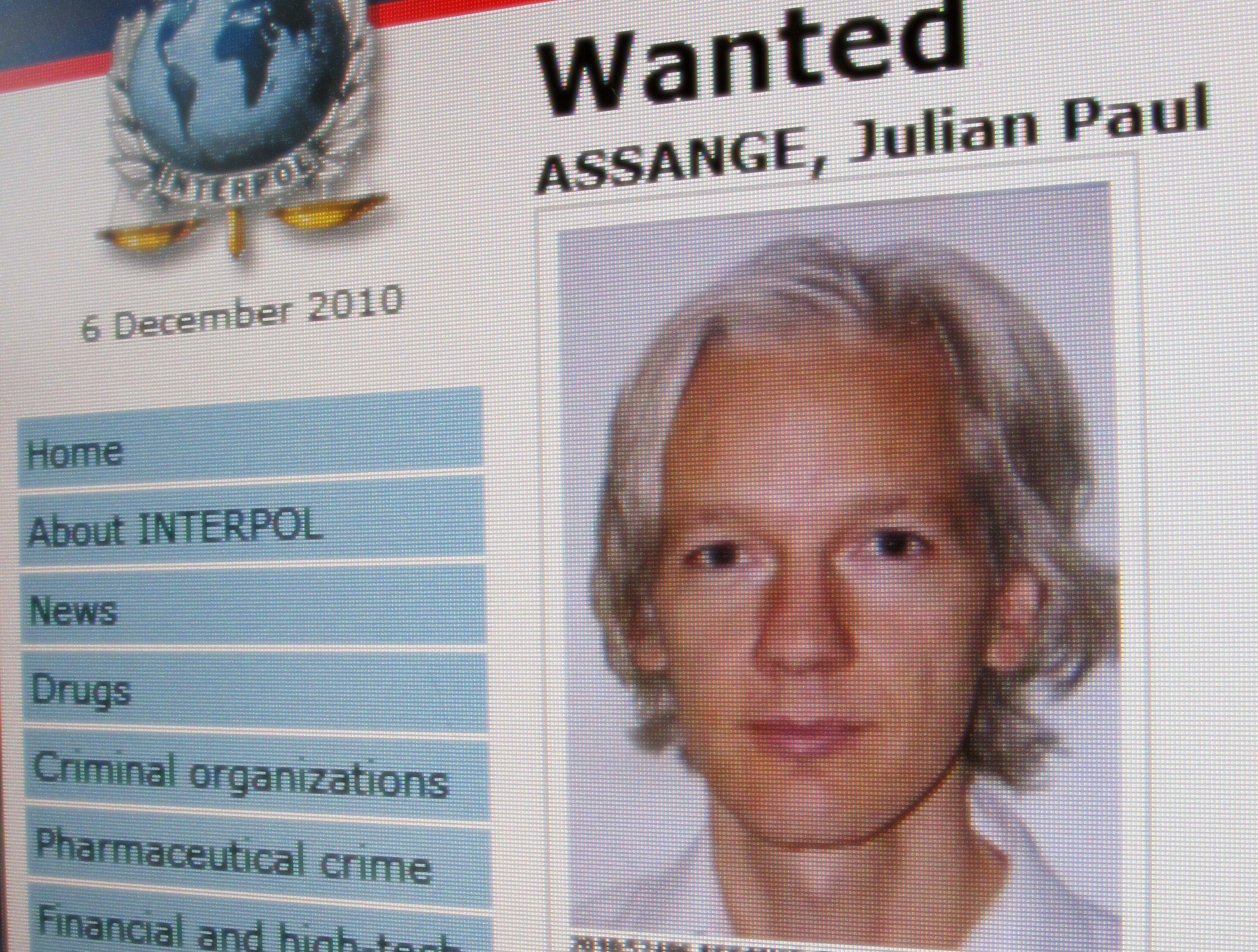 A detail from the Interpol website showing the appeal for the arrest of the editor-in-chief of the Wikileaks whistleblowing website, Julian Assange on December 6, 2010.