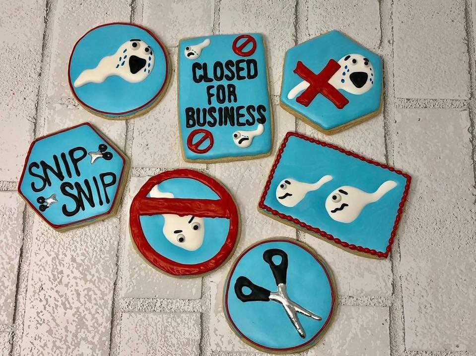 Vasectomy cookies by CrabbCakes Bakery of Appleton Wisconsin.