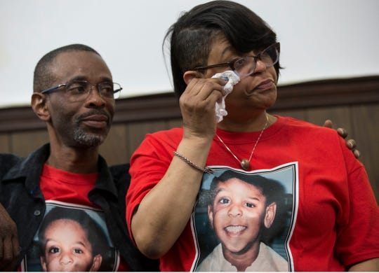 JoAnne Atkins-Ingram (right), whose son, Braeden Bradforth, died of heatstroke playing football at Garden City Community College in Kansas last summer, is comforted by her husband,  Robert Ingram, during the gathering in Asbury Park on Thursday, April 11, 2019.