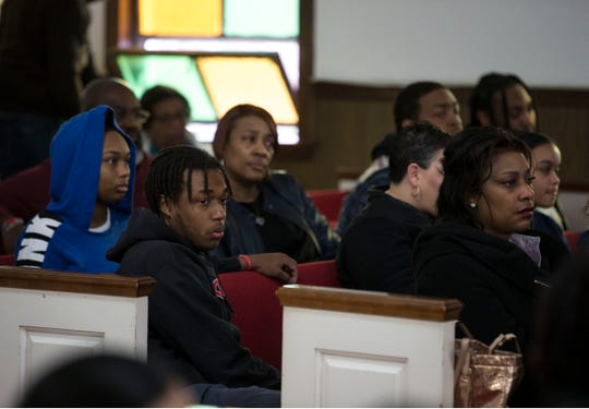 Friends and family of former Neptune football player Braeden Bradforth gather at Friendship Baptist Church in Asbury Park. They are demanding answers and accountability from Garden City Community College, the school where Bradforth died after an intense football practice a day after his arrival.Asbury Park, NJThursday, April 11, 2019