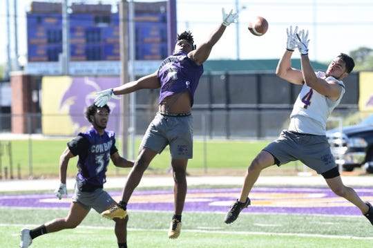 Hardin-Simmons defensive back David Wilson breaks up a pass intended for Matthew Sandoval during spring practice at Shelton Stadium on Thursday, April 11, 2019.