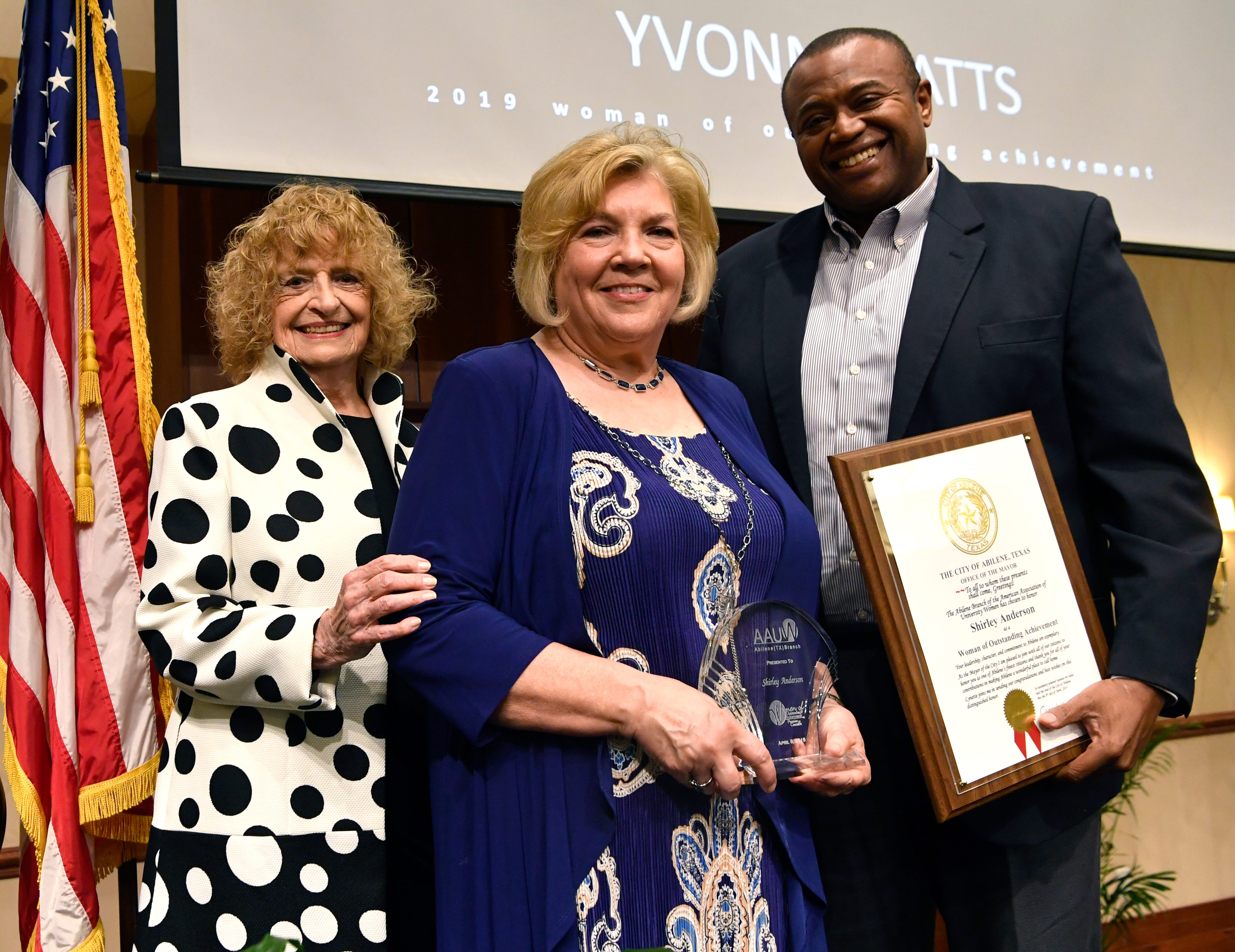 Shirley Anderson (center) was one of the women honored at Monday's 10th annual Women of Outstanding Achievement/Women of Promise & Courage Scholarship Award Luncheon at Abilene Christian University, Beside her are Martha Kiel and Mayor Anthony Williams.