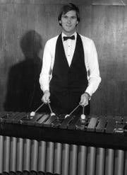Allen Teel on the marimba in the mid-1980s. A few years later, the Abilene Christian University music prof started a steelband called Steel Grooves.