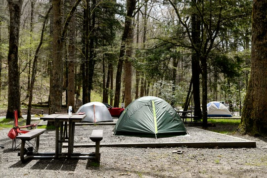 Tents are set up at Smokemont Campground in the Great Smoky Mountains April 10, 2019. The campground, which is partially open year-round, will fully open May 15. The six-week government shutdown this winter is causing delays in Great Smokies spring openings of campgrounds and other facilities.