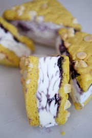 """The """"Not Yer Average Lemon"""" ice cream sandwich at High Test Deli and Sweet Shop on the South Slope is made with blueberry soft serve with a white chocolate lemon cookie."""