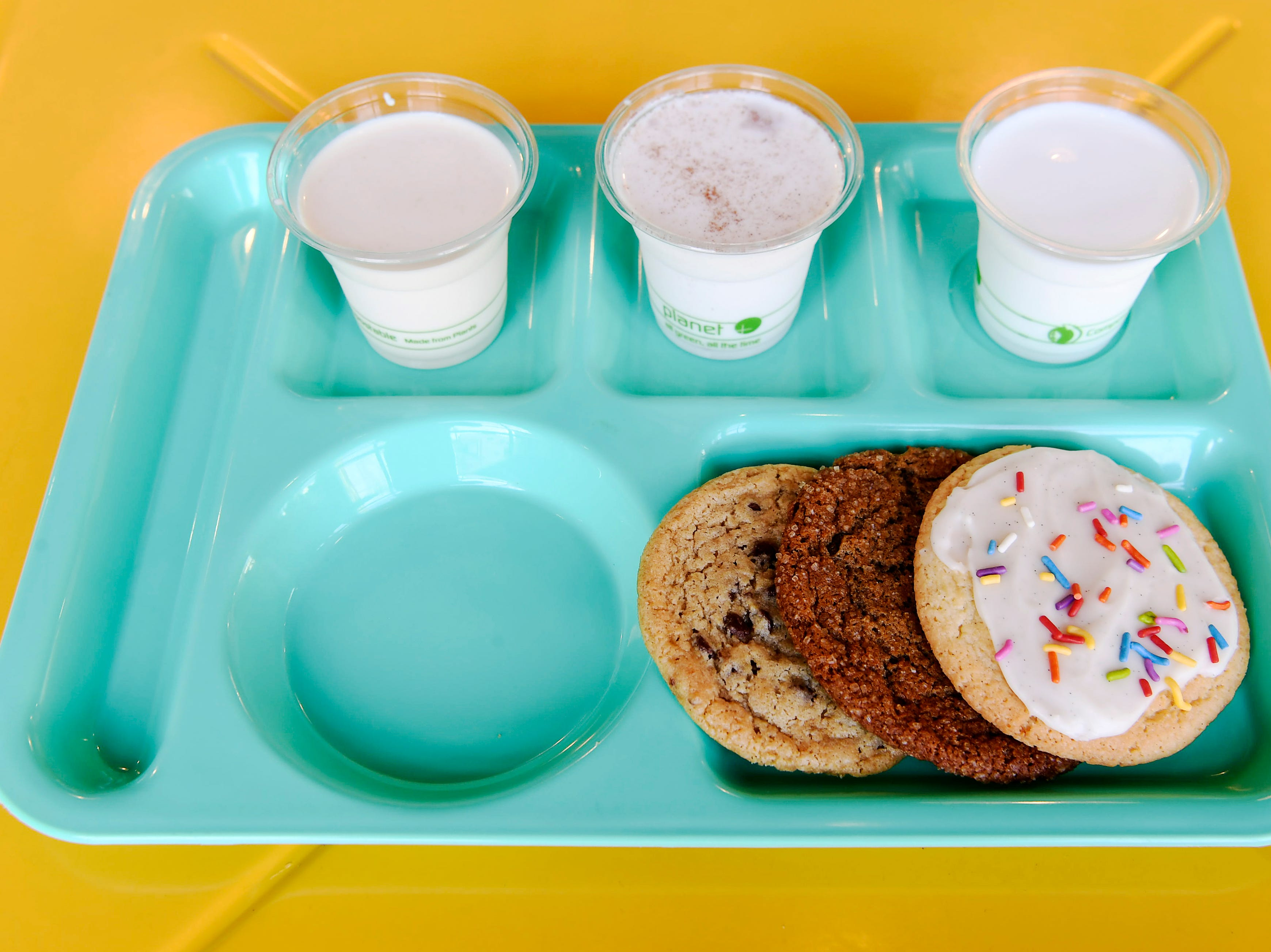 Sunshine Sammies offers flights of milk and cookies.