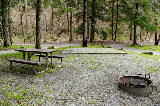 An empty campsite at Smokemont Campground in the Great Smoky Mountains April 10, 2019. The campground, which is partially open year-round, will fully open May 15. The six-week government shutdown this winter is causing delays in Great Smokies spring openings of campgrounds and other facilities.