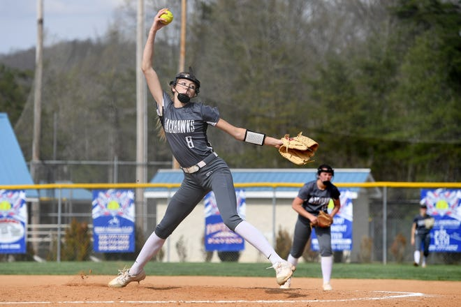 North Buncombe pitcher Karlyn Pickens delivers a pitch against Madison during their game at the Andy Gregg softball field in Marshall on April 11, 2019. The Lady Patriots defeated the Lady Blackhawks 6-4.