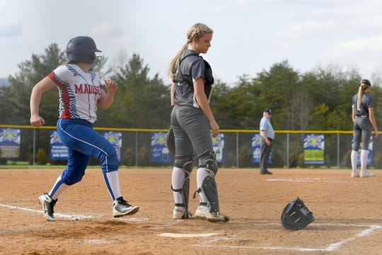 Madison hosted North Buncombe at the Andy Gregg softball field in Marshall on April 11, 2019. The Lady Patriots defeated the Lady Blackhawks 6-4.