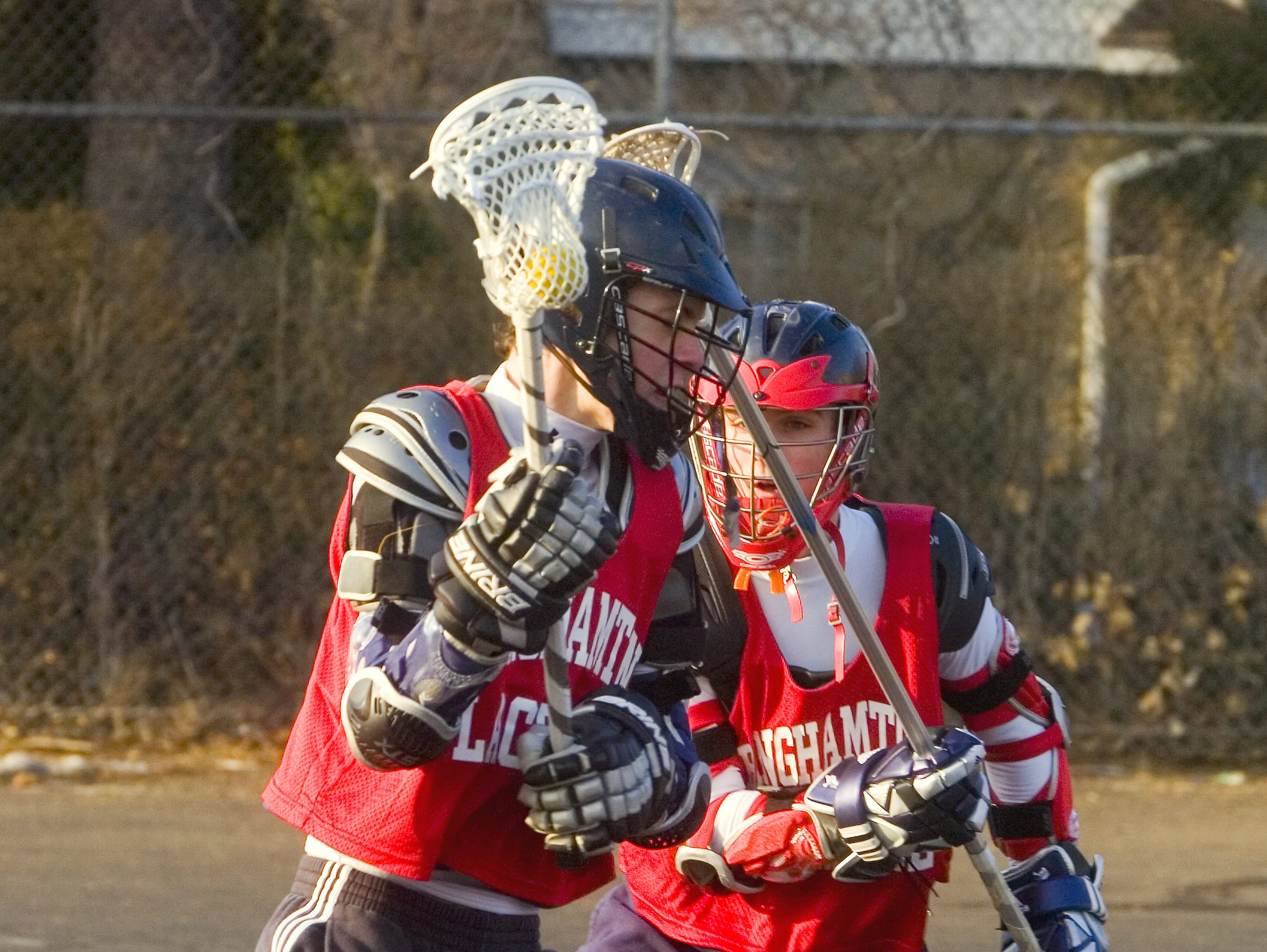 2008: Matt Grant, left, and Brody Terry two Binghamton high school sophomores are at lacrosse practice Monday afternoon in Binghamton.