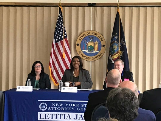 Attorney General Letitia James holds a round table in Binghamton on the opioid epidemic in New York.