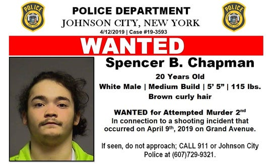 Johnson City Police Department are still looking for Spencer Chapman in connection to the Grand Avenue shooting.