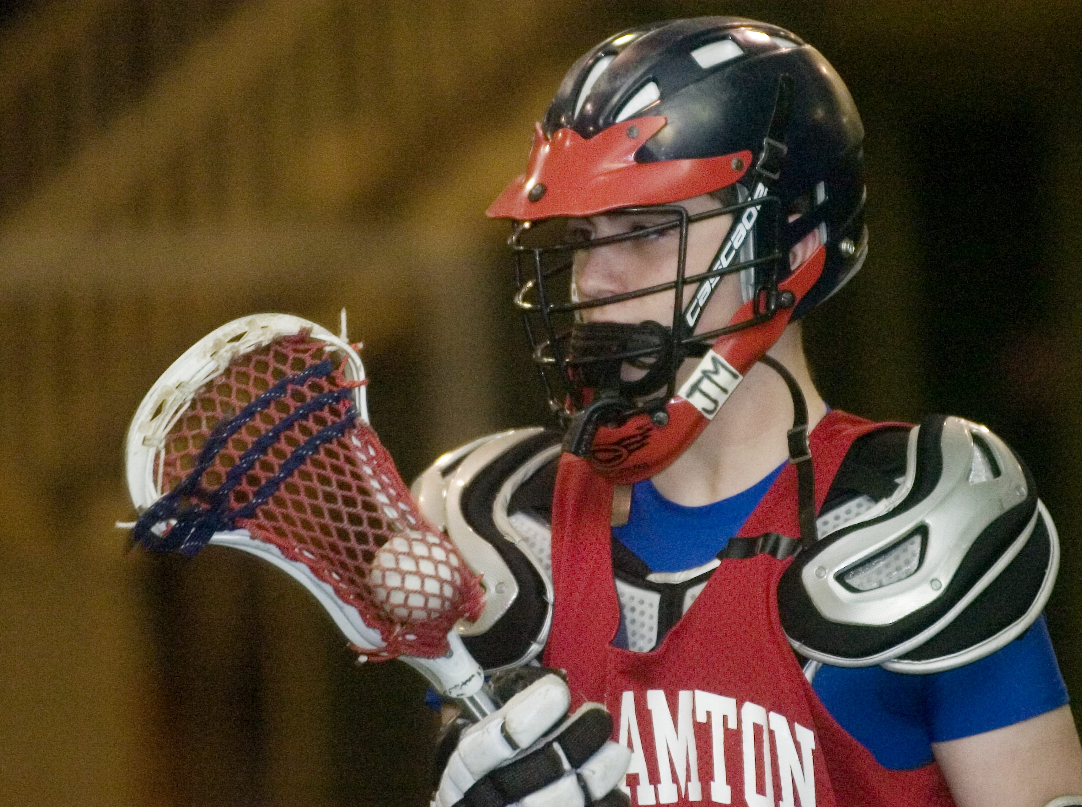 2006: Binghamtons' Marcus Hennekens sports a JM, Tuesday in memory of John Mack during a game with Vestal at the Community Sportsplex in the Town of Union, thiswas the first game since the passing of John Mack. John Mack, 17, died Thursday, two days after being checked with a lacrosse stick while playing in a Binghamton-Vestal club lacrosse game at the Community Sportsplex.